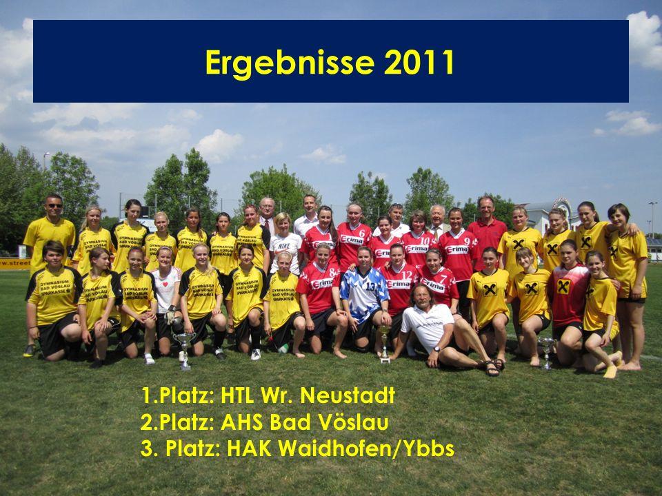 Ergebnisse 2011 1.Platz: HTL Wr. Neustadt 2.Platz: AHS Bad Vöslau 3. Platz: HAK Waidhofen/Ybbs
