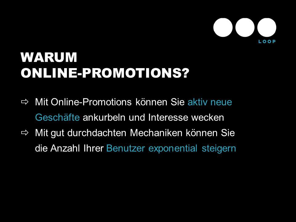 WARUM ONLINE-PROMOTIONS? Mit Online-Promotions können Sie aktiv neue Geschäfte ankurbeln und Interesse wecken Mit gut durchdachten Mechaniken können S