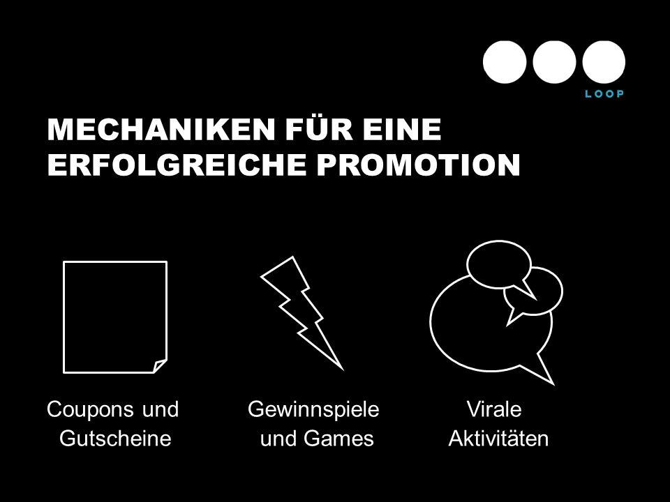 MECHANIKEN FÜR EINE ERFOLGREICHE PROMOTION Coupons und Gewinnspiele Virale Gutscheine und GamesAktivitäten