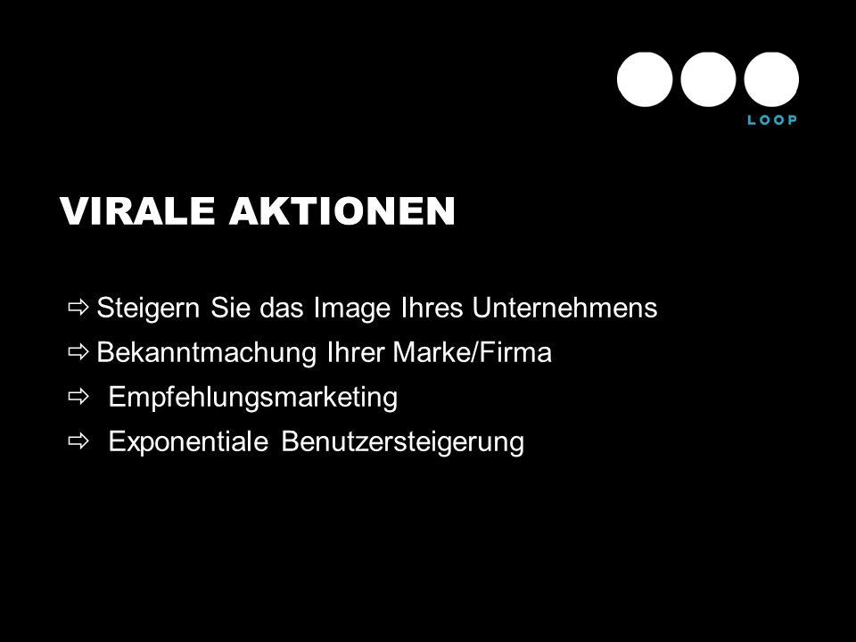 VIRALE AKTIONEN Steigern Sie das Image Ihres Unternehmens Bekanntmachung Ihrer Marke/Firma Empfehlungsmarketing Exponentiale Benutzersteigerung