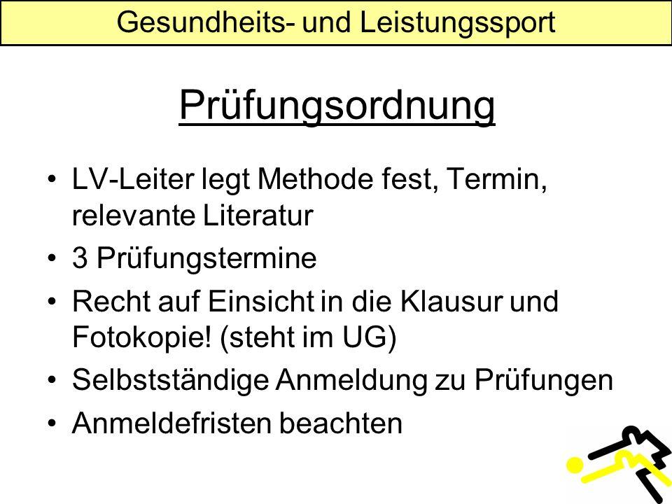 Gesundheits- und Leistungssport Prüfungsordnung LV-Leiter legt Methode fest, Termin, relevante Literatur 3 Prüfungstermine Recht auf Einsicht in die Klausur und Fotokopie.