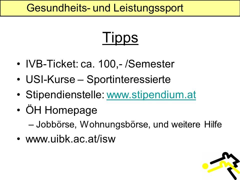 Gesundheits- und Leistungssport Tipps IVB-Ticket: ca.