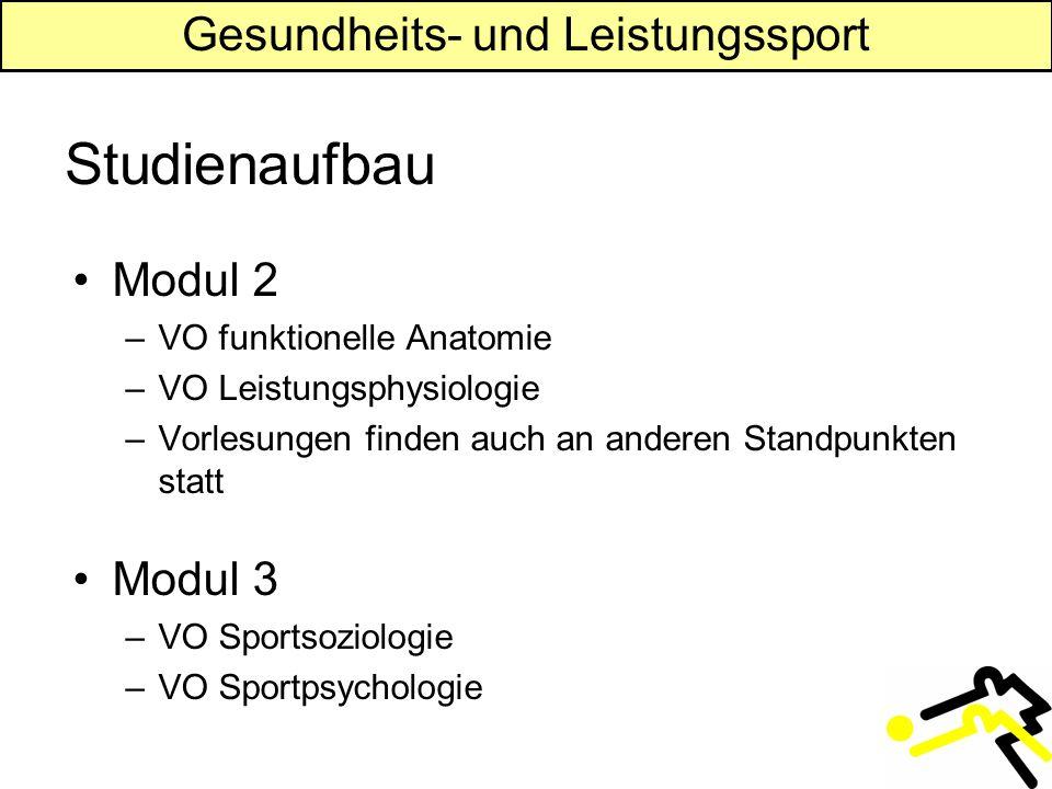 Gesundheits- und Leistungssport Studienaufbau Modul 2 –VO funktionelle Anatomie –VO Leistungsphysiologie –Vorlesungen finden auch an anderen Standpunkten statt Modul 3 –VO Sportsoziologie –VO Sportpsychologie
