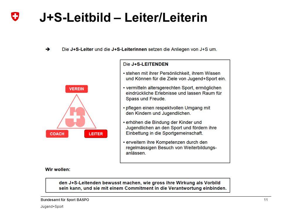 11 Bundesamt für Sport BASPO Jugend+Sport J+S-Leitbild – Leiter/Leiterin