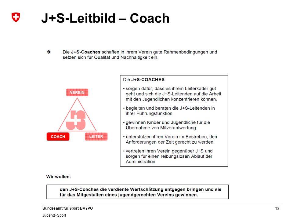 13 Bundesamt für Sport BASPO Jugend+Sport J+S-Leitbild – Coach