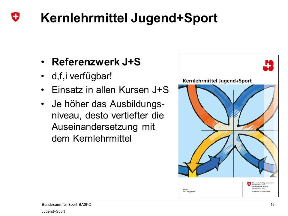 19 Bundesamt für Sport BASPO Jugend+Sport Kernlehrmittel Jugend+Sport Referenzwerk J+S d,f,i verfügbar! Einsatz in allen Kursen J+S Je höher das Ausbi