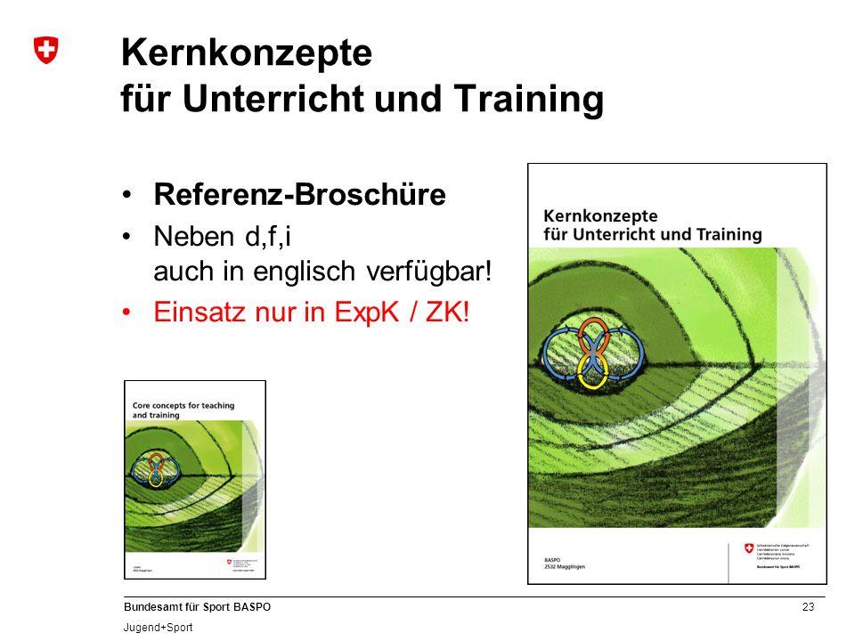 23 Bundesamt für Sport BASPO Jugend+Sport Kernkonzepte für Unterricht und Training Referenz-Broschüre Neben d,f,i auch in englisch verfügbar! Einsatz