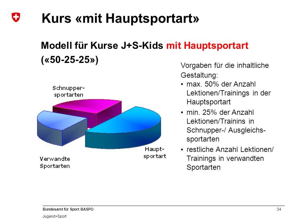 34 Bundesamt für Sport BASPO Jugend+Sport Modell für Kurse J+S-Kids mit Hauptsportart («50-25-25») max. 50% der Anzahl Lektionen/Trainings in der Haup
