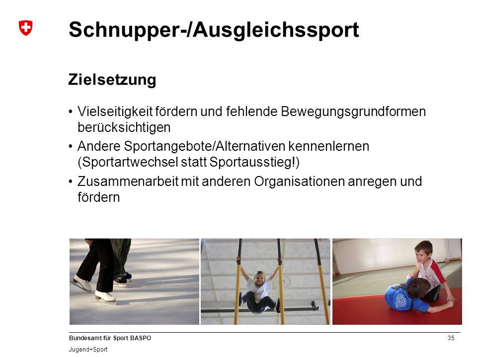 35 Bundesamt für Sport BASPO Jugend+Sport Schnupper-/Ausgleichssport Zielsetzung Vielseitigkeit fördern und fehlende Bewegungsgrundformen berücksichti