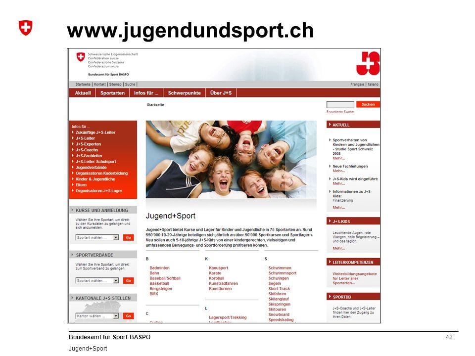 42 Bundesamt für Sport BASPO Jugend+Sport www.jugendundsport.ch