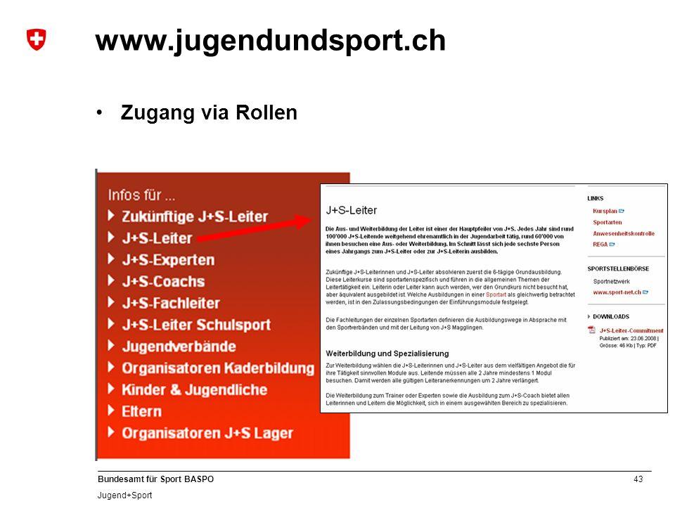 43 Bundesamt für Sport BASPO Jugend+Sport www.jugendundsport.ch Zugang via Rollen
