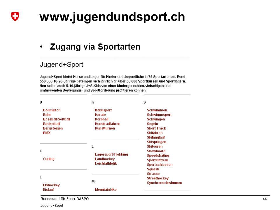 44 Bundesamt für Sport BASPO Jugend+Sport www.jugendundsport.ch Zugang via Sportarten