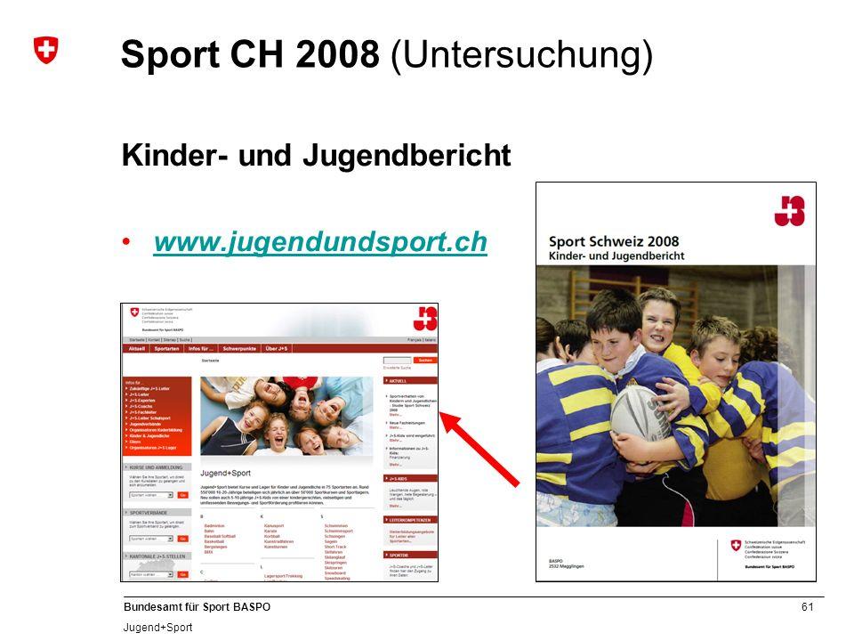 61 Bundesamt für Sport BASPO Jugend+Sport Sport CH 2008 (Untersuchung) Kinder- und Jugendbericht www.jugendundsport.ch