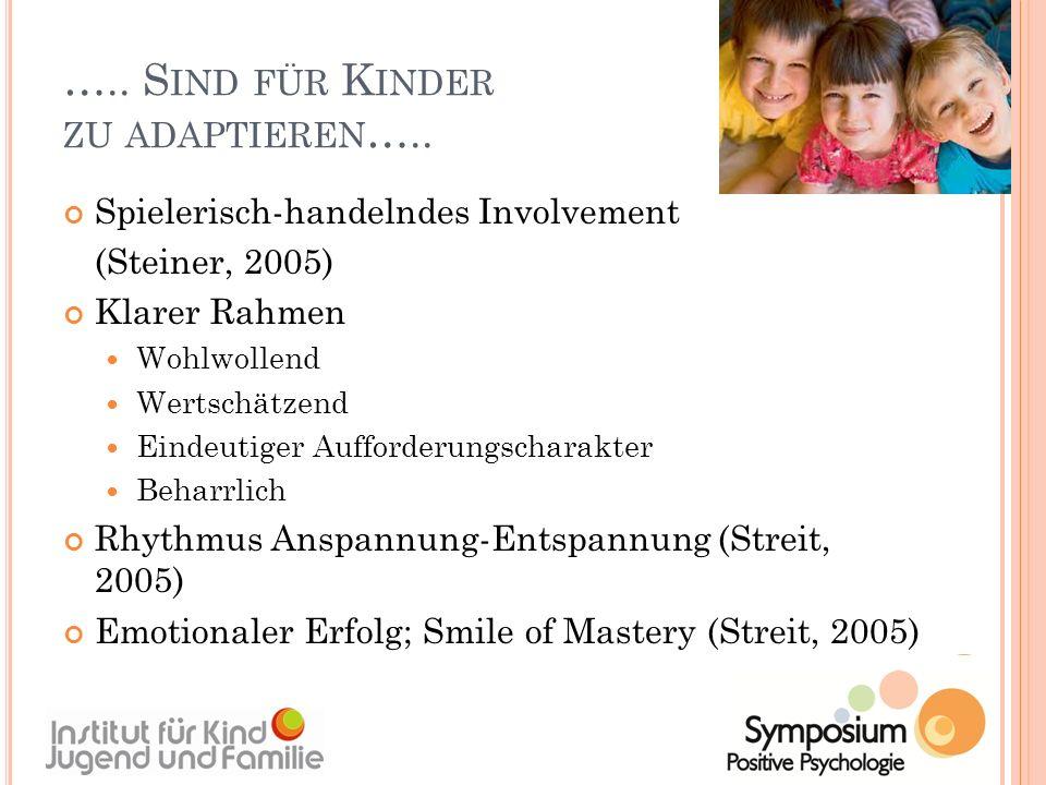 ….. S IND FÜR K INDER ZU ADAPTIEREN ….. Spielerisch-handelndes Involvement (Steiner, 2005) Klarer Rahmen Wohlwollend Wertschätzend Eindeutiger Aufford