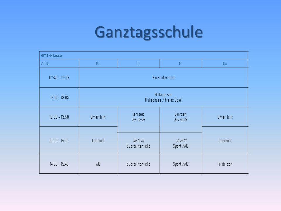Ganztagsschule GTS-Klasse Zeit MoDiMiDo 07:40 – 12:05Fachunterricht 12:10 – 13:05 Mittagessen Ruhephase / freies Spiel 13:05 – 13:50Unterricht Lernzei