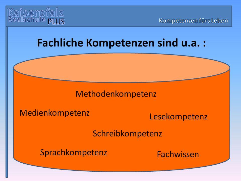 Fachliche Kompetenzen sind u.a. : Methodenkompetenz Fachwissen Lesekompetenz Medienkompetenz Schreibkompetenz Sprachkompetenz