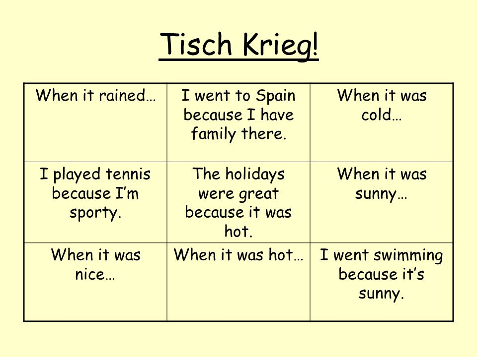 Tisch Krieg! When it rained…I went to Spain because I have family there. When it was cold… I played tennis because Im sporty. The holidays were great