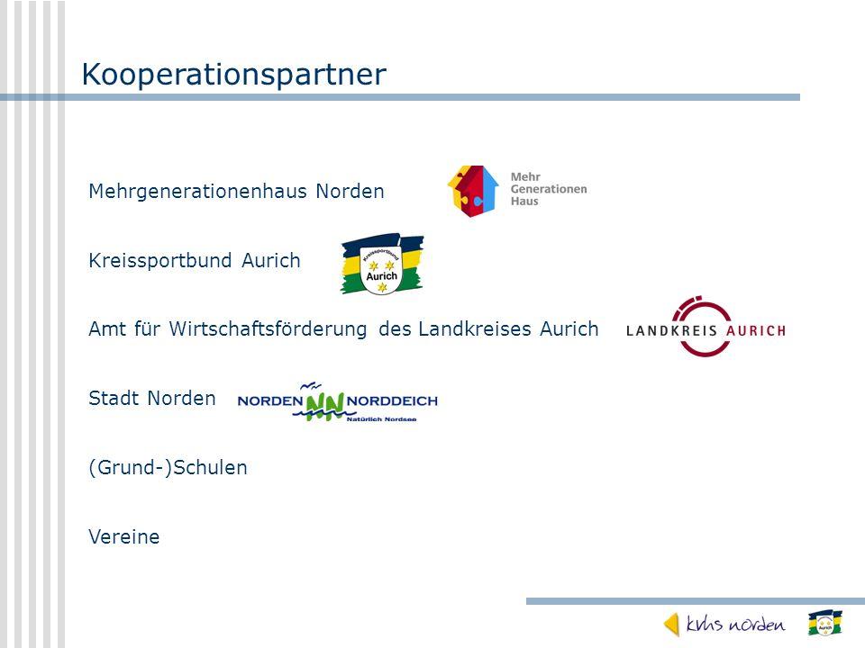 Kooperationspartner Mehrgenerationenhaus Norden Kreissportbund Aurich Amt für Wirtschaftsförderung des Landkreises Aurich Stadt Norden (Grund-)Schulen