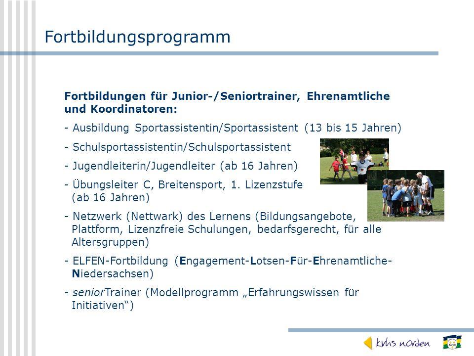 Fortbildungsprogramm Fortbildungen für Junior-/Seniortrainer, Ehrenamtliche und Koordinatoren: - Ausbildung Sportassistentin/Sportassistent (13 bis 15