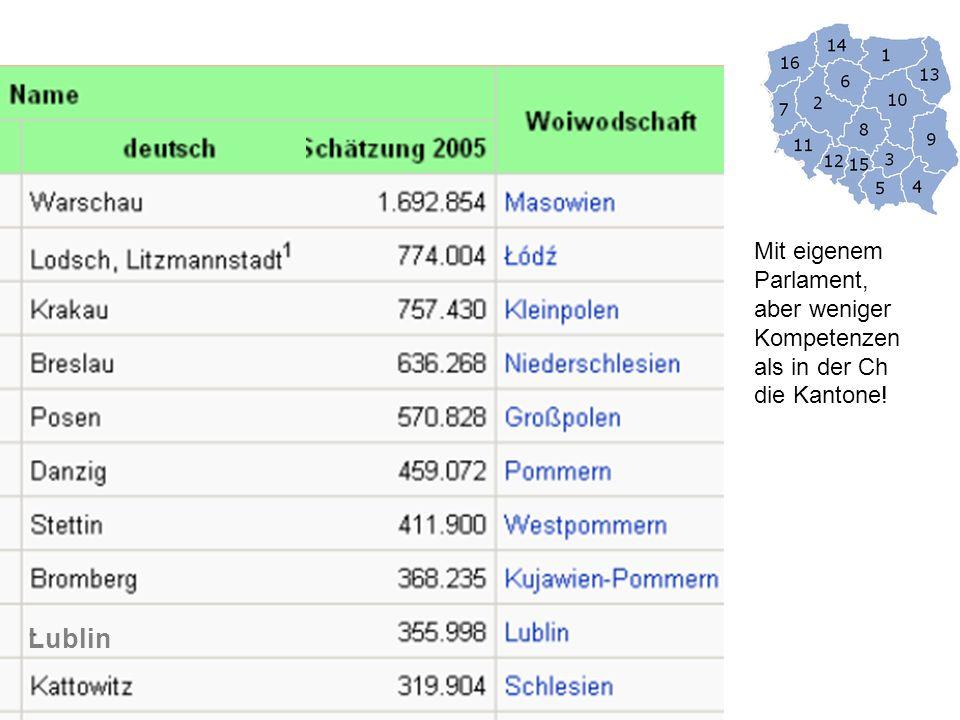 Lublin Mit eigenem Parlament, aber weniger Kompetenzen als in der Ch die Kantone!