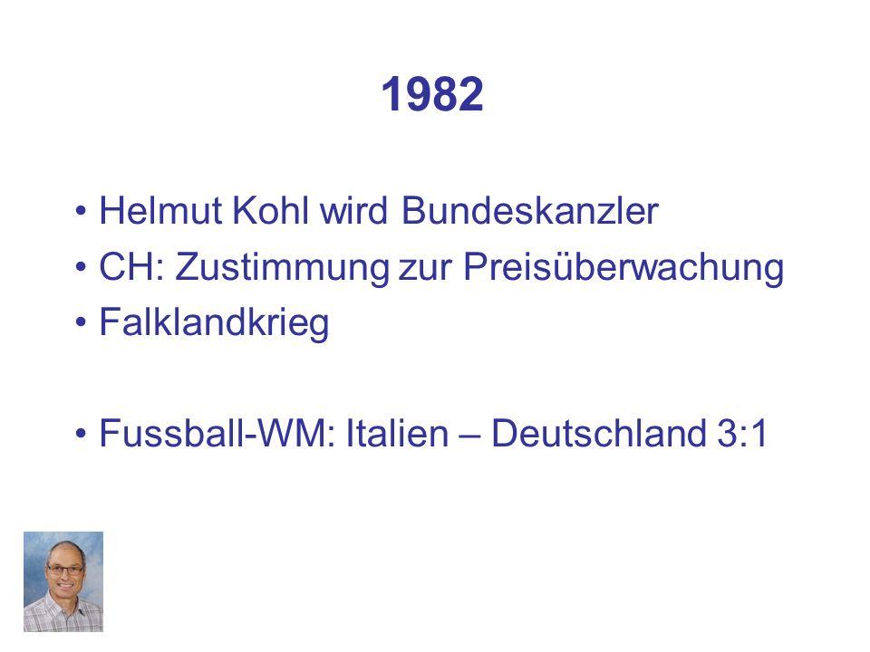 1982 Helmut Kohl wird Bundeskanzler CH: Zustimmung zur Preisüberwachung Falklandkrieg Fussball-WM: Italien – Deutschland 3:1