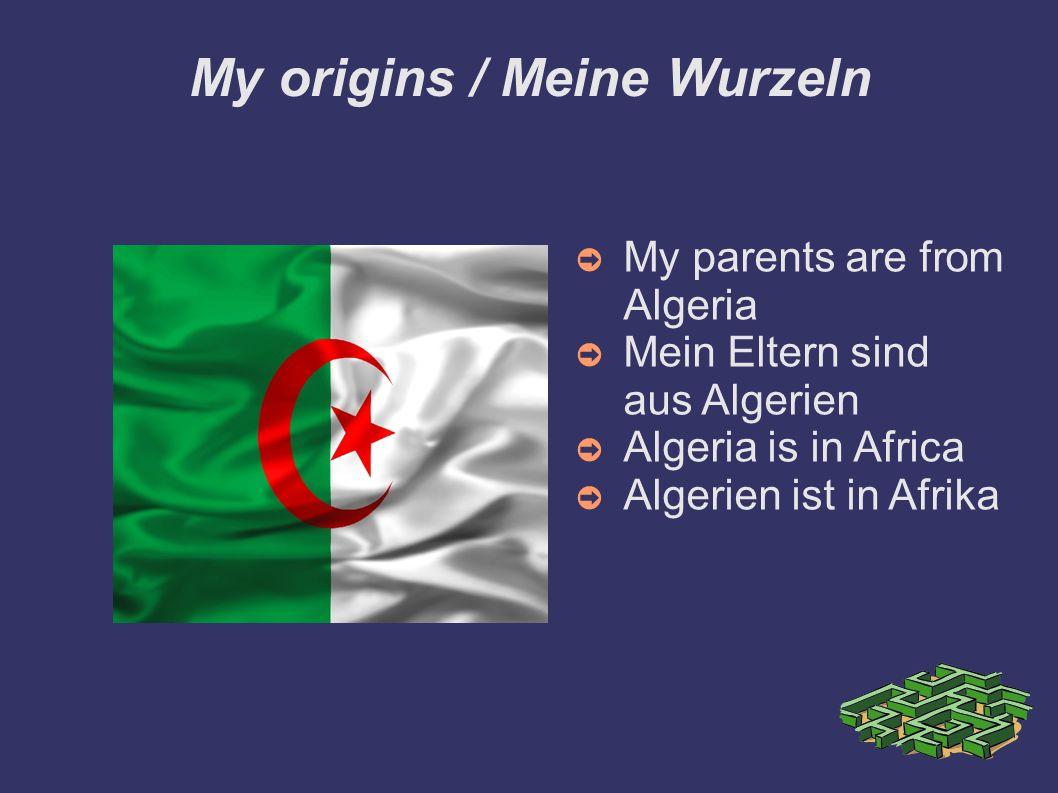 My origins / Meine Wurzeln My parents are from Algeria Mein Eltern sind aus Algerien Algeria is in Africa Algerien ist in Afrika