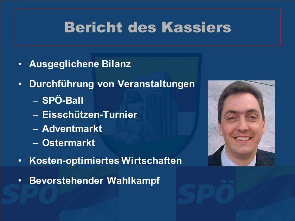 Bericht des Kassiers Ausgeglichene Bilanz Durchführung von Veranstaltungen –SPÖ-Ball –Eisschützen-Turnier –Adventmarkt –Ostermarkt Kosten-optimiertes Wirtschaften Bevorstehender Wahlkampf