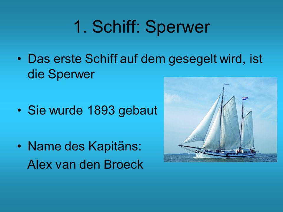 1. Schiff: Sperwer Das erste Schiff auf dem gesegelt wird, ist die Sperwer Sie wurde 1893 gebaut Name des Kapitäns: Alex van den Broeck