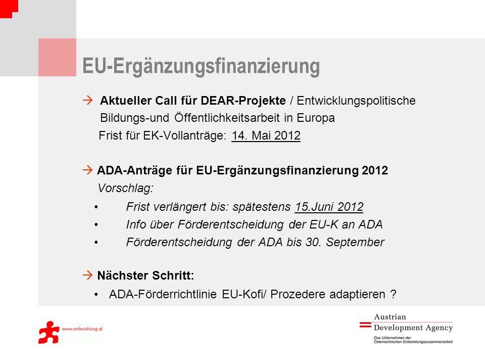 EU-Ergänzungsfinanzierung Aktueller Call für DEAR-Projekte / Entwicklungspolitische Bildungs-und Öffentlichkeitsarbeit in Europa Frist für EK-Vollanträge: 14.
