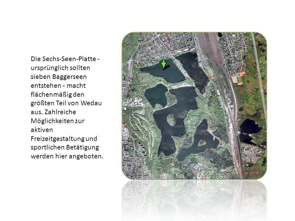Die Sechs-Seen-Platte - ursprünglich sollten sieben Baggerseen entstehen - macht flächenmäßig den größten Teil von Wedau aus. Zahlreiche Möglichkeiten