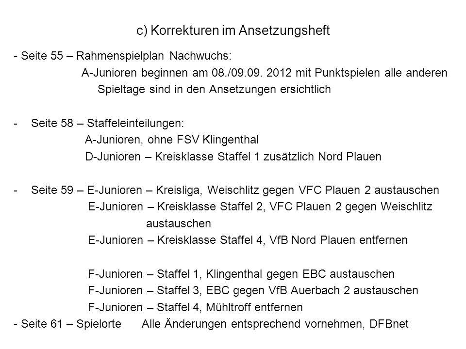 c) Korrekturen im Ansetzungsheft - Seite 55 – Rahmenspielplan Nachwuchs: A-Junioren beginnen am 08./09.09.