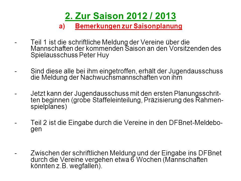 2. Zur Saison 2012 / 2013 a)Bemerkungen zur Saisonplanung -Teil 1 ist die schriftliche Meldung der Vereine über die Mannschaften der kommenden Saison