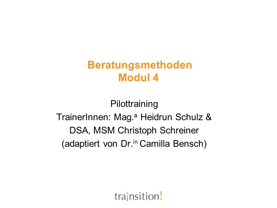 Beratungsmethoden Modul 4 Pilottraining TrainerInnen: Mag. a Heidrun Schulz & DSA, MSM Christoph Schreiner (adaptiert von Dr. in Camilla Bensch)