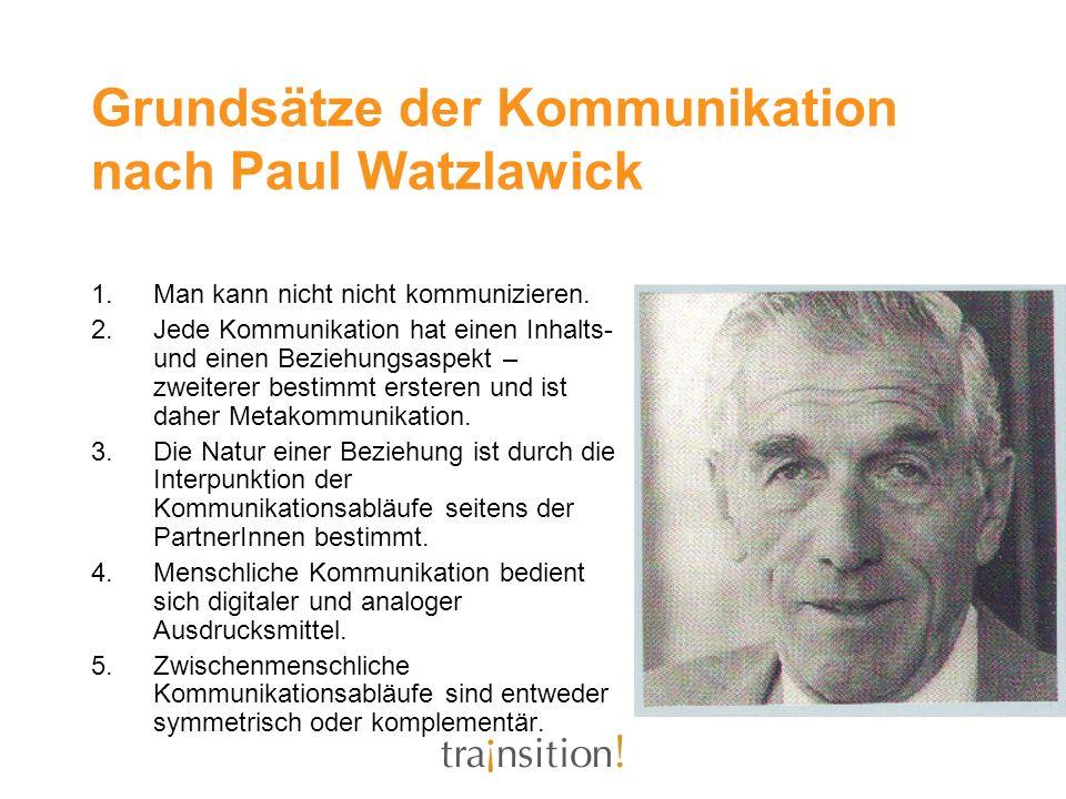 Grundsätze der Kommunikation nach Paul Watzlawick 1.Man kann nicht nicht kommunizieren. 2.Jede Kommunikation hat einen Inhalts- und einen Beziehungsas