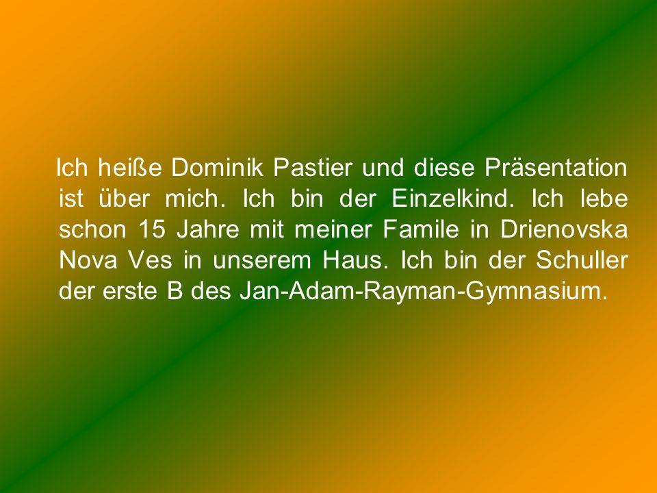 Ich heiße Dominik Pastier und diese Präsentation ist über mich. Ich bin der Einzelkind. Ich lebe schon 15 Jahre mit meiner Famile in Drienovska Nova V