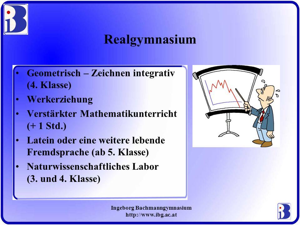 Ingeborg Bachmanngymnasium http://www.ibg.ac.at Realgymnasium Geometrisch – Zeichnen integrativ (4. Klasse) Werkerziehung Verstärkter Mathematikunterr