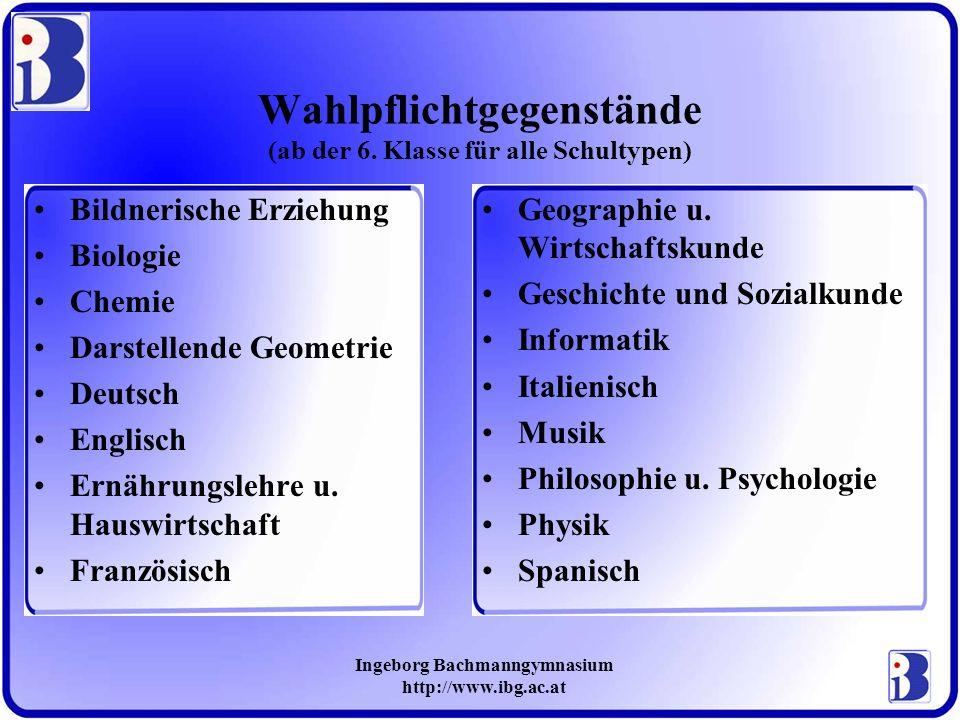 Ingeborg Bachmanngymnasium http://www.ibg.ac.at Wahlpflichtgegenstände (ab der 6. Klasse für alle Schultypen) Bildnerische Erziehung Biologie Chemie D