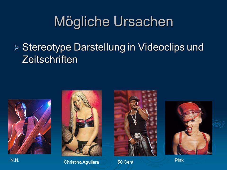 Stereotype Darstellung in Videoclips und Zeitschriften Stereotype Darstellung in Videoclips und Zeitschriften Mögliche Ursachen Christina Aguilera50 Cent PinkN.N.