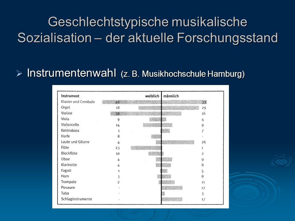 Geschlechtstypische musikalische Sozialisation – der aktuelle Forschungsstand Instrumentenwahl (z.