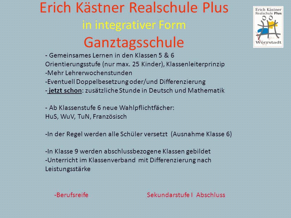 Erich Kästner Realschule Plus in integrativer Form Ganztagsschule Unser Profil 1: - Diverse Unterrichtsgänge und Betriebserkundungen, Theater- und Konzertbesuche, außerschulische Sichtweise verändert die Perspektiven und gibt neuen Schwung für den Schulalltag - Bewerbertraining für die Schüler der 9.