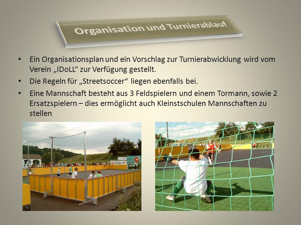 Ein Organisationsplan und ein Vorschlag zur Turnierabwicklung wird vom Verein IDoLL zur Verfügung gestellt. Die Regeln für Streetsoccer liegen ebenfal