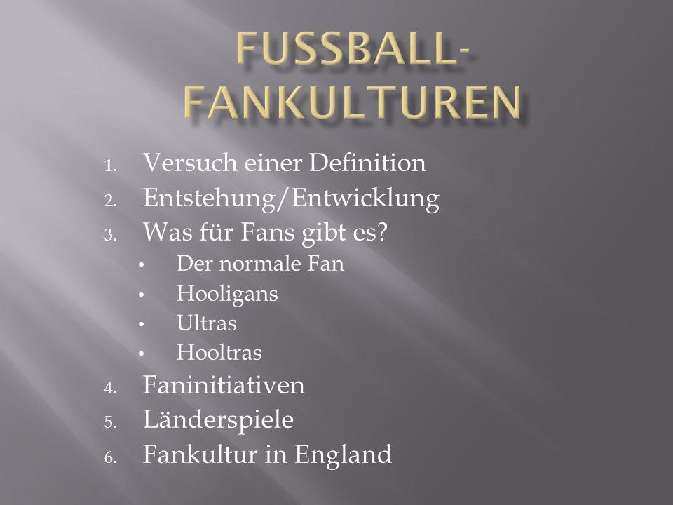 1. Versuch einer Definition 2. Entstehung/Entwicklung 3. Was für Fans gibt es? Der normale Fan Hooligans Ultras Hooltras 4. Faninitiativen 5. Ländersp