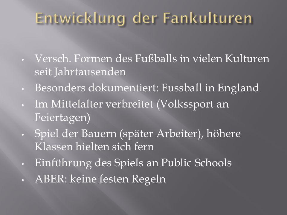 Versch. Formen des Fußballs in vielen Kulturen seit Jahrtausenden Besonders dokumentiert: Fussball in England Im Mittelalter verbreitet (Volkssport an