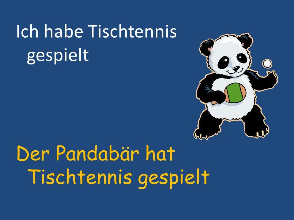 Ich habe Tischtennis gespielt Der Pandabär hat Tischtennis gespielt