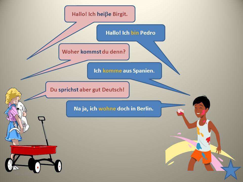 16. 4. 20137 Hallo! Ich hei e Birgit. Hallo! Ich bin Pedro Woher kommst du denn? Ich komme aus Spanien. Du sprichst aber gut Deutsch! Na ja, ich wohne