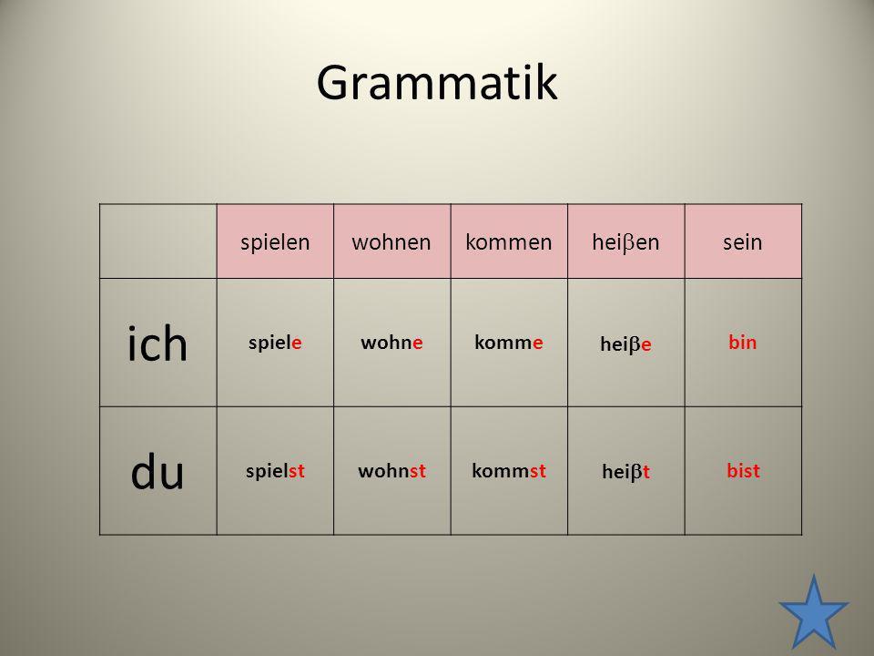 Grammatik spielenwohnenkommen hei en sein ich spielewohnekomme hei e bin du spielstwohnstkommst hei t bist