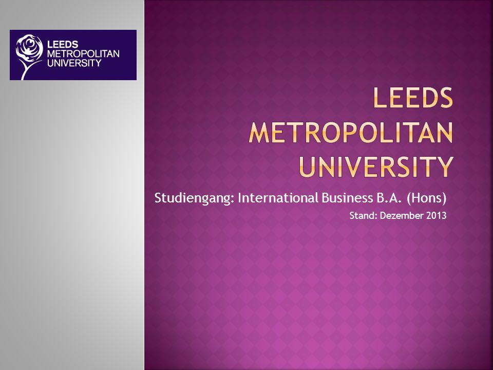 Studiengang: International Business B.A. (Hons) Stand: Dezember 2013