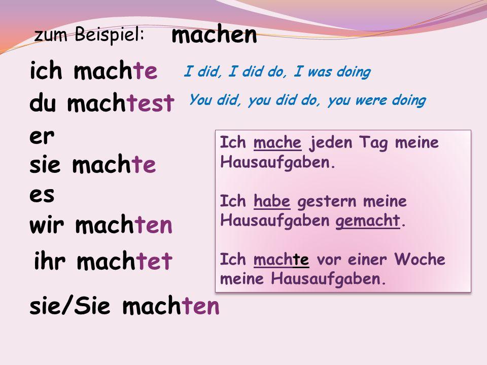 Mehrere Beispiele: Du wohntest bei deinem Onkel in Bern.