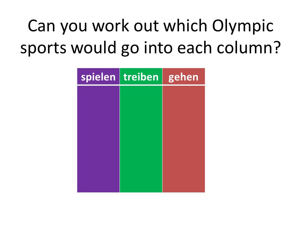 Can you work out which Olympic sports would go into each column spielentreibengehen