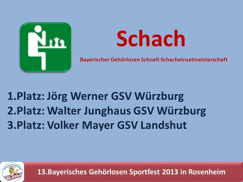 13.Bayerisches Gehörlosen Sportfest 2013 in Rosenheim 1.Platz: Jörg Werner GSV Würzburg 2.Platz: Walter Junghaus GSV Würzburg 3.Platz: Volker Mayer GS